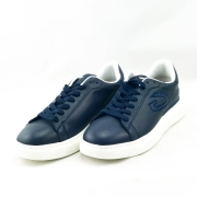 GUARDIANI ανδρικό δερμάτινο sneakers με κορδόνι σε μπλέ χρώμα