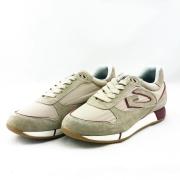GUARDIANI ανδρικό δερμάτινο sneakers με κορδόνι σε  μπέζ χρώμα με άσπρη σόλα και μπορντό λεπτομέρειες