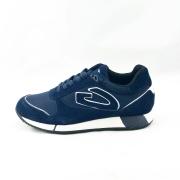 GUARDIANI ανδρικό δερμάτινο sneakers με κορδόνι σε μπλέ χρώμα  με άσπρες λεπτομέρειες