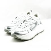 GUARDIANI γυναικείο δερμάτινο sneakers σε λευκό χρώμα με ασημί λεπτομέριες  και κορδόνι
